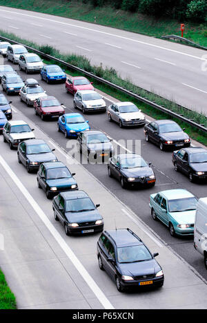 Traffic jam on a motorway during a holiday weekend near cologne, Germany. - Stock Photo