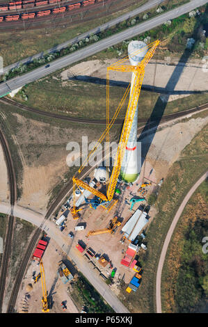 Wind turbine construction, Hamburg, Germany - Stock Photo