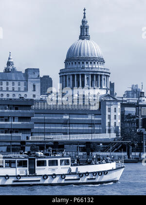 View of St Paul's Cathedral and Blackfriars Pier from the South Bank, London - Stock Photo