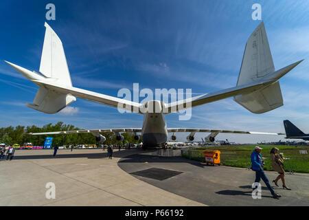 BERLIN - APRIL 27, 2018: Twin tail of the strategic airlift cargo aircraft Antonov An-225 Mriya. Close-up. Exhibition ILA Berlin Air Show 2018 - Stock Photo
