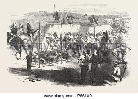 THE SIKH CAVALRY DELIVELING UP THEIR ARMS AT RAWUL PINDEE, MARCH 14, 1849. - Stock Photo