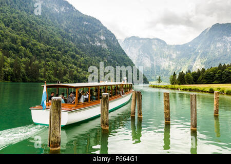 Tourist boat on Konigsee lake in Berchtesgaden National Park in summer, Germany - Stock Photo