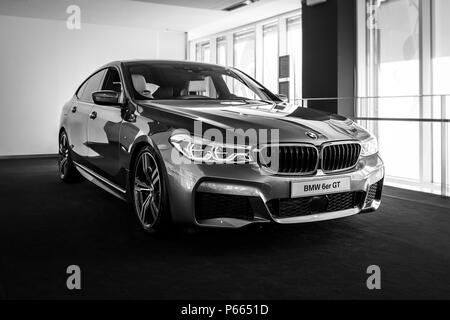 BERLIN - JUNE 09, 2018: Showroom. Mid-size luxury car BMW 6 Series (G32). Black and white. - Stock Photo