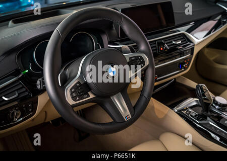 BERLIN - JUNE 09, 2018: Showroom. Interior of a mid-size luxury car BMW 6 Series (G32). - Stock Photo