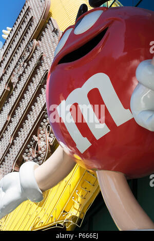 Detail of M & M character on fascia of M & M Shop in Las Vegas, Nevada, USA - Stock Photo