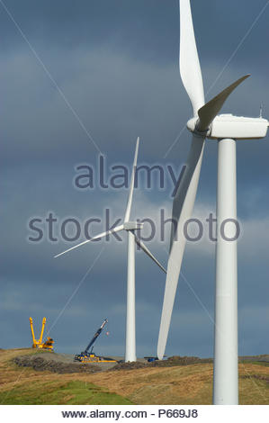 Cefn Croes wind farm in Mid Wales under construction October 2004 - Stock Photo