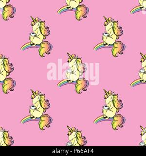 Seamless pattern with cute unicorn,hand drawn, - Stock Photo