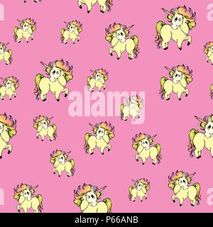 Seamless pattern with unicorns,cute horses on pink background - Stock Photo