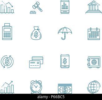 Business Line Icon Set - Stock Photo