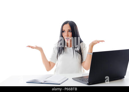 business concept - stressed businesswoman with computer in office - Stock Photo