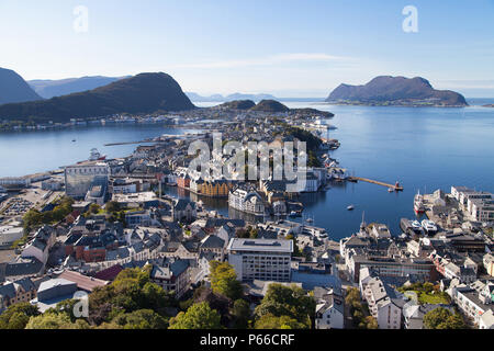 View of Alesund and its Islands from the top of the mount Aksla, More og Romsdal, Norway. - Stock Photo