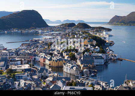 View of Alesund from the Fjellstua Viewpoint on top of the mount Aksla, More og Romsdal, Norway. - Stock Photo