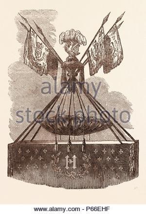 CRADLE OF HENRI IV, BORN AT PAU, DECEMBER 15, 1553. - Stock Photo