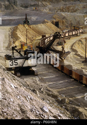 Loading rail wagons. Kennecott Bingham Canyon copper and gold mine, the biggest hole in the world. Salt Lake City, Utah, USA. - Stock Photo