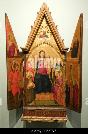 The central leaf depicts the Virgin and Child enthroned with four saints. The side leaves depict the Annunciation, St Christopher and the Crucifixion. Triptych 14th century. - Stock Photo