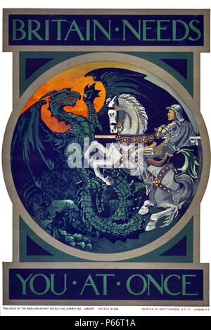 Britain needs you at once. Poster showing St. George slaying the dragon; scene in roundel format. published in the First World War by the British Parliamentary Recruiting Committee, 1915 - Stock Photo