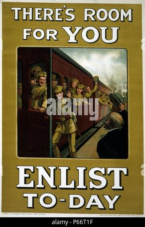 There's room for you. Enlist to-day World war One recruitment poster, published by the Parliamentary Recruiting Committee, 1915. Poster showing soldiers boarding a train, gesturing to others to join them. - Stock Photo