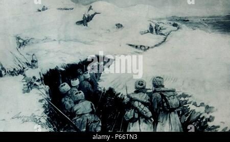 world war one Russian troops advance through a snow covered trench in Galicia. The Battle of Galicia was a major battle between Russia and Austria-Hungary during the early stages of World War I in 1914. In the course of the battle, the Austro-Hungarian armies were severely defeated and forced out of Galicia, while the Russians captured Lemberg and, for approximately nine months, ruled Eastern Galicia. - Stock Photo