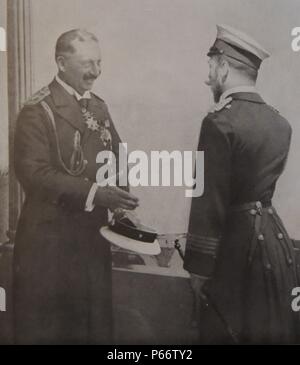 meeting between Tsar Nicholas II (right) emperor of Russia and his cousin Kaiser Wilhelm II of Germany in the years immediately before first world war 1914.