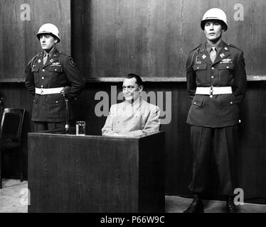 Hermann Wilhelm Göring January 1893 – October 1946, German politician, military leader at his trial for war Crimes 1946 - Stock Photo