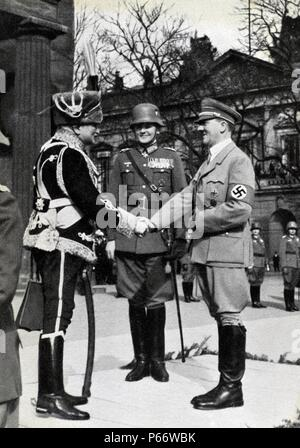 Anton Ludwig August von Mackensen (1849 – 1945), German soldier and field marshal ,with Chancellor Adolf Hitler of Germany 1935 - Stock Photo