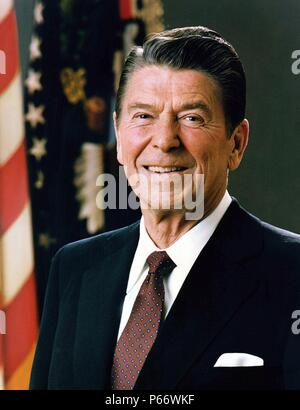 Ronald Reagan 1911-2004. 40th President of the United States. 1981-1989. Prior to his presidency, he served as the 33rd Governor of California, and was a radio, film and television actor. - Stock Photo
