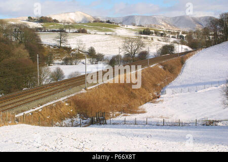 A view of the West Coast Main Line railway near Grayrigg, Cumbria. UK. 2003. - Stock Photo