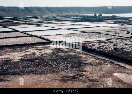 Salt flats in Lanzarote of the Canary Islands, Spain. Salinas de janubio. Travel concept - Stock Photo