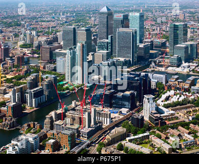 Aerial view of Canary Wharf, Docklands, looking from the south, Llondon, UK - Stock Photo