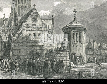 Preaching at St Paul's Cross, 16th Century, preaching cross and open-air pulpit, in the grounds of Old St Paul's Cathedral, City of London - Stock Photo