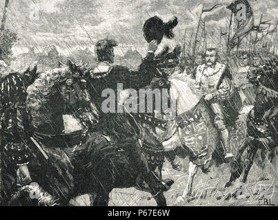 The meeting of King Henry VIII of England and the Holy Roman emperor Maximilian I, The Battle of the Spurs, also known as Battle of Guinegate, 16 August 1513 - Stock Photo