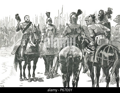 King Henry VIII, greeting the captured French officers, The Battle of the Spurs, also known as Battle of Guinegate, 16 August 1513 - Stock Photo