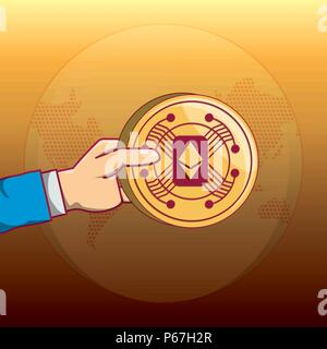hand holding a ethereum coin over yellow background, colorful design. vector illustration - Stock Photo