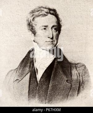 Sir Robert Peel;    (1788 – 2 July 1850)  British Conservative statesman;   who served as prime minister of the United Kingdom from 10 December 1834 to 8 April 1835;   and also from 30 August 1841 to 29 June 1846. While home secretary;   Peel helped create the modern concept of the police force - Stock Photo