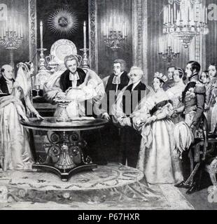 Baptism of Victoria;   Princess Royal (21 November 1840 – 5 August 1901) eldest child of Queen Victoria of the United Kingdom and Prince Albert. She became German Empress and Queen of Prussia - Stock Photo