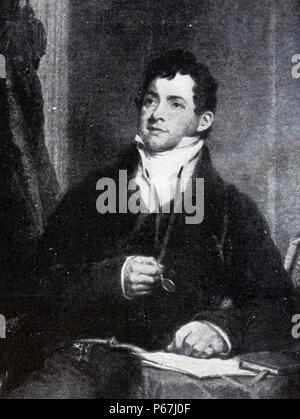 Thomas Moore (28 May 1779 – 25 February 1852) was an Irish poet;   singer;   songwriter;   and entertainer;   now best remembered for the lyrics of 'The Minstrel Boy' and 'The Last Rose of Summer' - Stock Photo