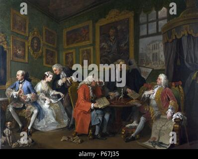 William Hogarth 'Marriage A la Mode';   The Marriage Settlement. Marriage à la mode is a series of six paintings painted by William Hogarth between 1743 and 1745 depicting a satire of upper class 18th century English;   society - Stock Photo