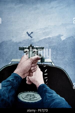 Air to air dogfight between a British and a German aircraft in world war one 1917 - Stock Photo