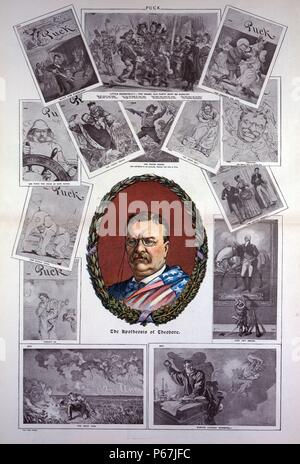 The apotheosis of Theodore' Theodore Roosevelt in an oval wreath of oak and laurel or holly, surrounded by cartoons from previous issues of PUCK depicting his rise in politics and his years as president. - Stock Photo