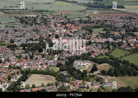 aerial view of Tickhill Castle and town near Doncaster - Stock Photo