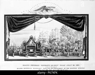 Grand funeral pageant at New York July 23, 1850, in honour of the memory of Major General Zachary Taylor 12th president of the United States' Funeral procession for Zachary Taylor, with coffin on elaborately decorated wagon, seen through curtains, perhaps on a stage; eagle above bears banner, 'I have endeavoured to do my duty.' - Stock Photo