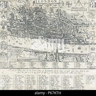 16th Century Map of London by John Norden (1548-1625)  English cartographer, chorographer and antiquary. Dated 1593 - Stock Photo