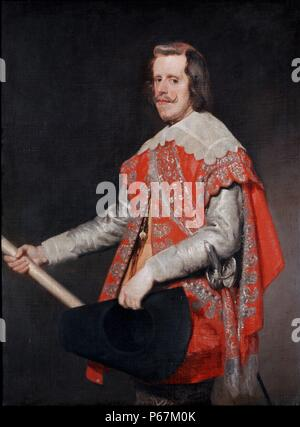 Portrait of Philip IV, King of Spain (1605-1665). Painted by Velázquez, Diego Rodríguez de Silva y (1599 - 1660) Spanish painter who was the leading artist in the court of King Philip IV and one of the most important painters of the Spanish Golden Age. Dated 17th Century - Stock Photo