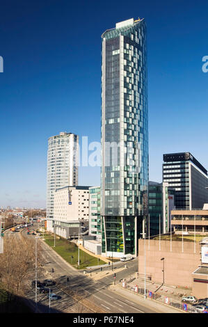 Radisson Hotel and 1st Beetham Tower in background, Liverpool Business District Liverpool's tallest building - Stock Photo