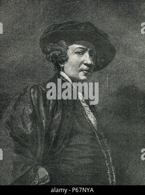 Sir Joshua Reynolds, English painter, specialising in portraits - Stock Photo