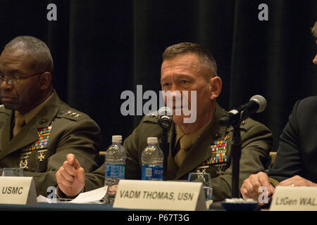 160516-N-XO220-050 NATIONAL HARBOR, Md. (May 16, 2016) – Lt. Gen. Jon Davis, deputy commandant for aviation, speaks during a naval integration roundtable during the 2016 Sea-Air-Space Exposition. The Sea-Air-Space Exposition is an annual event that brings together key military decision makers, the U.S. defense industrial base and private-sector U.S. companies for an innovative and educational maritime based event. (Mass Communication Specialist 3rd Eric S. Brann/Released) - Stock Photo