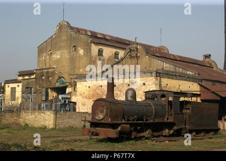 Rameshwara Jute Mill in Bihar operates this metre gauge F Class built by Sharpe Stewart of Glasgow as their number 4322 of 1897. March 2007. - Stock Photo