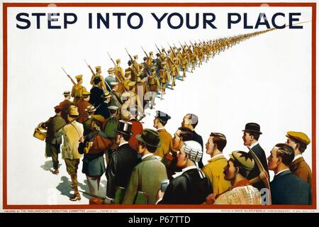 English propaganda poster from the First World War showing a column of soldiers and civilians marching to war. Text reads 'Step into your place'. - Stock Photo