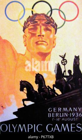 Poster for the 1936 Olympics held in Berlin, Germany. Berlin won the bid to host the Games over Barcelona, Spain and it marked the second and final time that the International Olympic Committee would gather to vote in a city which was bidding to host those Games. - Stock Photo