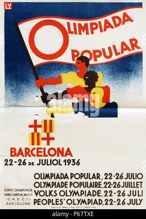Poster for the Spanish bid for the 1936 Olympic Games. Berlin won the bid to host the Games over Barcelona, Spain and it marked the second and final time that the International Olympic Committee would gather to vote in a city which was bidding to host those Games. - Stock Photo
